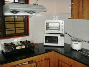 My kitchen consists of a gas cookstove, microwave, toaster oven and rice cooker.