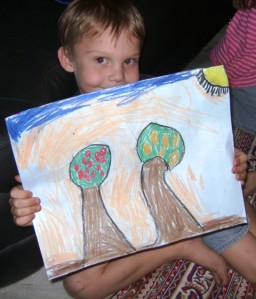 Ender and his tree picture - outlined in black