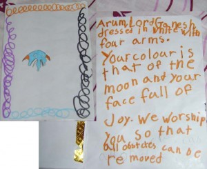 Addie made this card at school. She was going to give it to Sudakker, but she chickened out.  I didn't realize that we were Hindu now, but I guess, when in Rome....(or in this case, Hyderabad)
