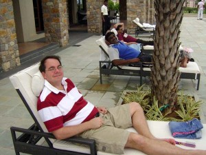 Scott and our friend Srini, relaxing by the pool