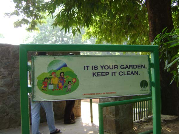 He took this in Lodi Gardens in Delhi.  Perhaps it is his way of remarking on the pollution of the cities here?  Or, maybe he just liked the sign...